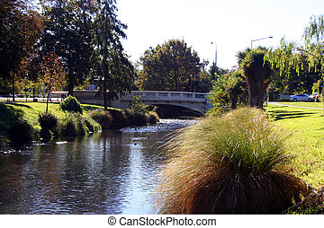 Bridge over the Avon river - taken in Christchurch, New ...