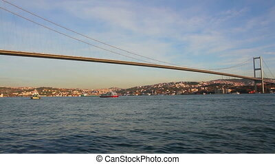 bridge over the Bosphorus Strait in Istanbul Turkey - timelapse