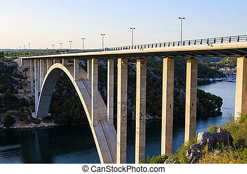 Bridge over the estuary of Krka River in Croatia