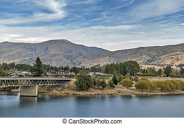 Bridge over the Kawarau River and Lake Dunstan in the township of Cromwell, Central Otago, New Zealand