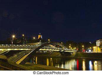 Bridge over the Neris River in Vilnius, Lithuania