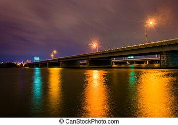 Bridge over the Potomac River at night in Washington, DC.