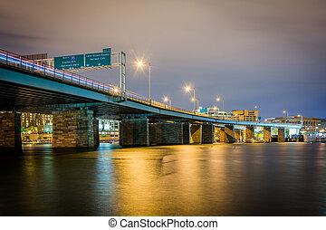 Bridge over the Potomac River at night, in Washington, DC.