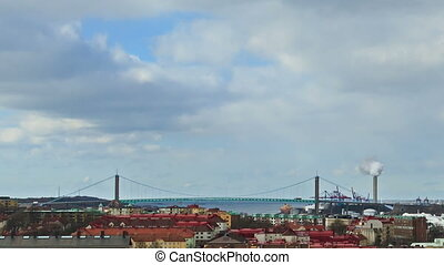 Bridge over the river. Gothenburg, Sweden. Time Lapse