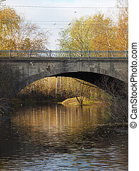 bridge over the river in autumn