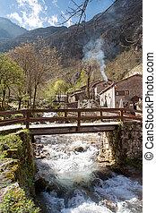 Bridge over the river in Bulnes