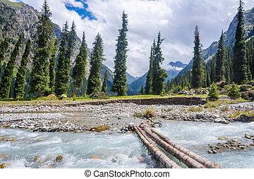 Bridge over the river in Karakol national park