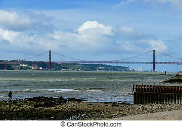 bridge over the river, in Lisbon Capital City of Portugal