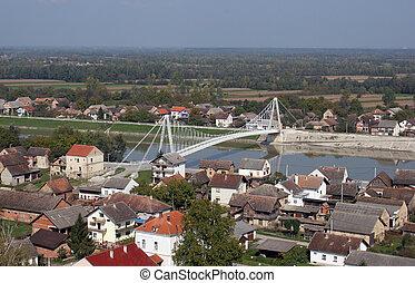 Bridge over the Sava River in Martinska Ves, Croatia