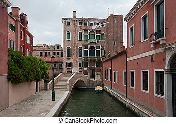 Bridge over the small canal in Venice, Italy