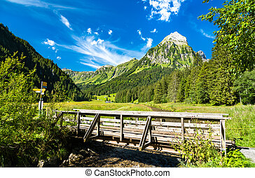 Bridge over the Sulzback creek at Obersee Valley in Swiss Alps