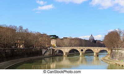Bridge over the Tiber, Sisto. Rome, Italy. Time Lapse