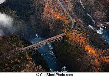 Bridge over the Zambezi River Gorge from the air