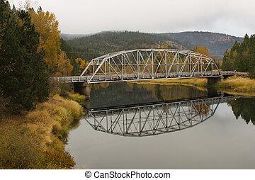 Bridge over tranquil water.