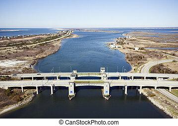 Bridge over waterway.
