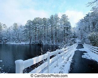 Bridge over winter lake