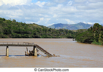 Bridge - Broken bridge on the river in Fiji