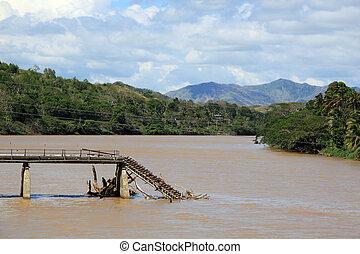 Bridge - Broken bridge on the river in Fiji
