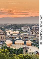 bridge), ponte, italy., vecchio, florencia, (old