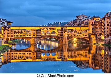 Bridge Ponte Vecchio in Florence at night, Italy