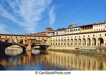 bridge Ponte Vecchio over the Arno River in Florence, Italy