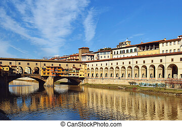 bridge Ponte Vecchio over the Arno River in Florence, Italy