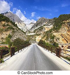 Bridge Ponti di Vara in white marble quarry, Apuan Alps,...