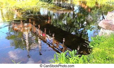 Beautiful bridge reflections on streamy river water. People walk. Shot on . Full HD 1080p. Progressive scan 25fps. Tripod.