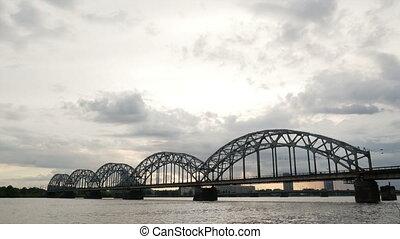 Bridge river sunrise cloudy