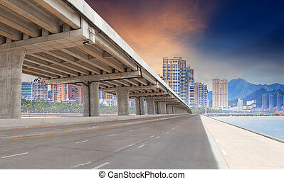 bridge road and urban building in city for infra structure development