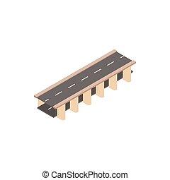 Bridge road icon, isometric 3d style