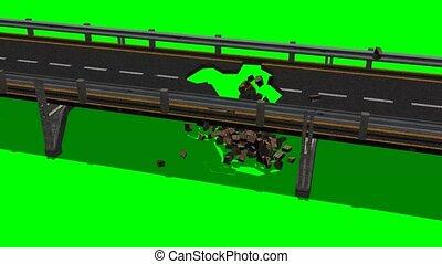 bridge roadway destruction on green screen - bridge roadway...