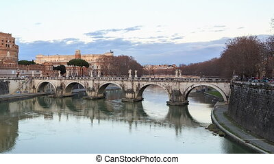 Bridge Sant'Angelo, Rome, Italy. Time Lapse