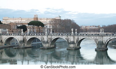 Bridge Sant'Angelo. Sunset. Panorama. Rome, Italy. Time...