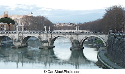 Bridge Sant'Angelo. Sunset. Panorama. Rome, Italy....