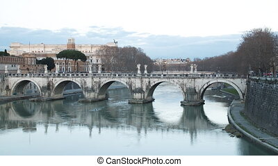 Bridge Sant'Angelo. Sunset. Zoom. Rome, Italy. TimeLapse....
