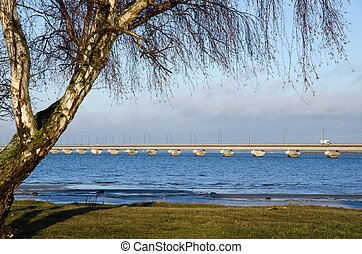 Bridge scene - View at the Oland bridge in Sweden at early...