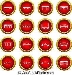 Bridge set icon red circle set
