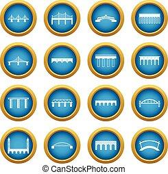 Bridge set icons blue circle set
