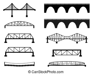 Bridge - Set of bridge illustrated on white