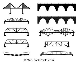 Bridge - Set of bridge illustrated on white
