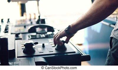 Bridge ship equipment of offshore dp vessel - Hand of marine...