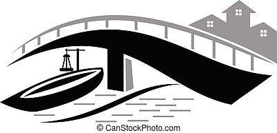 Bridge ship Logo Design Template Vector