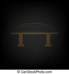 Bridge sign. Icon as grid of small orange light bulb in darkness. Illustration.