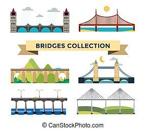 Bridge silhouette illustration set