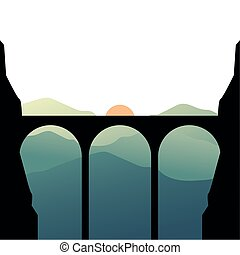 bridge silhouette in front of mountain with sun landscape vector design