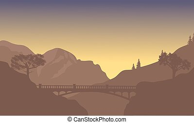 Bridge silhouette with brown background
