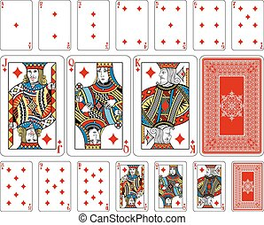 Bridge size Diamond playing cards plus reverse - Cards from ...