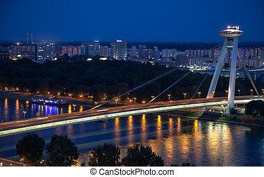 Bridge SNP at Bratislava, Slovakia - BRATISLAVA, SLOVAKIA -...