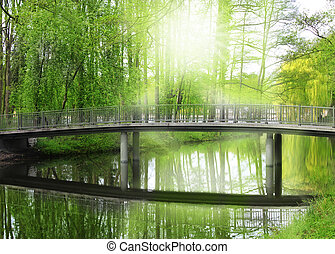 bridge, sun, landscape